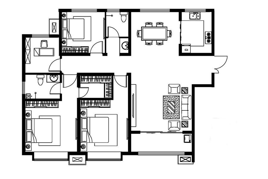 A户型, 4室2厅2卫1厨, 建筑面积约158.95平米