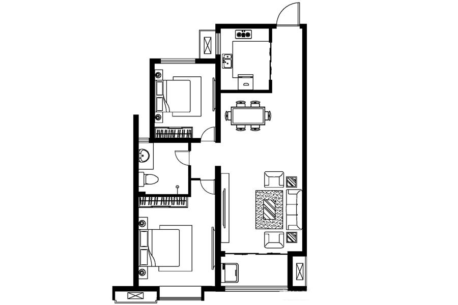 C户型, 2室2厅1卫0厨, 建筑面积约92.26平米