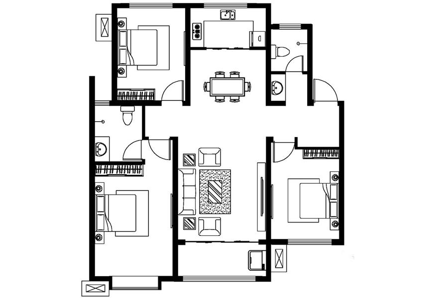 D户型, 3室2厅2卫1厨, 建筑面积约127.35平米