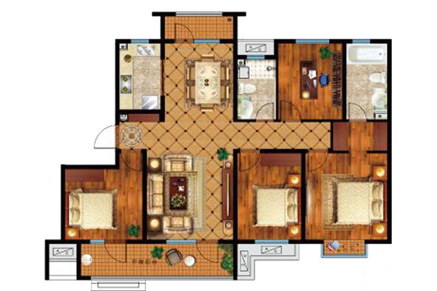 145㎡户型, 4室2厅2卫1厨, 建筑面积约145.00平米