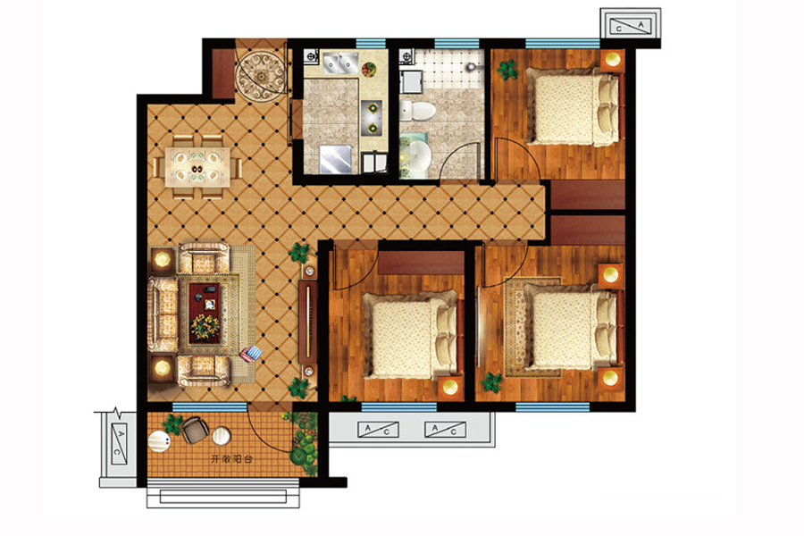 A户型, 3室2厅1卫1厨, 建筑面积约97.00平米