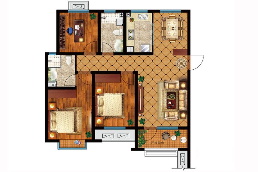 C户型, 3室2厅2卫1厨, 建筑面积约125.00平米
