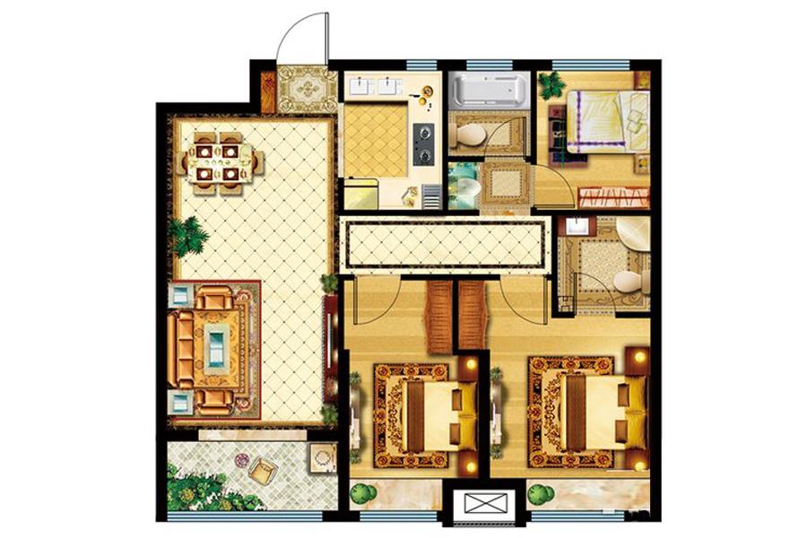 7#、11#楼A户型99平米3室2厅2卫1厨