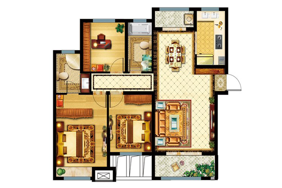 7#、11#楼D户型132平米3室2厅2卫1厨