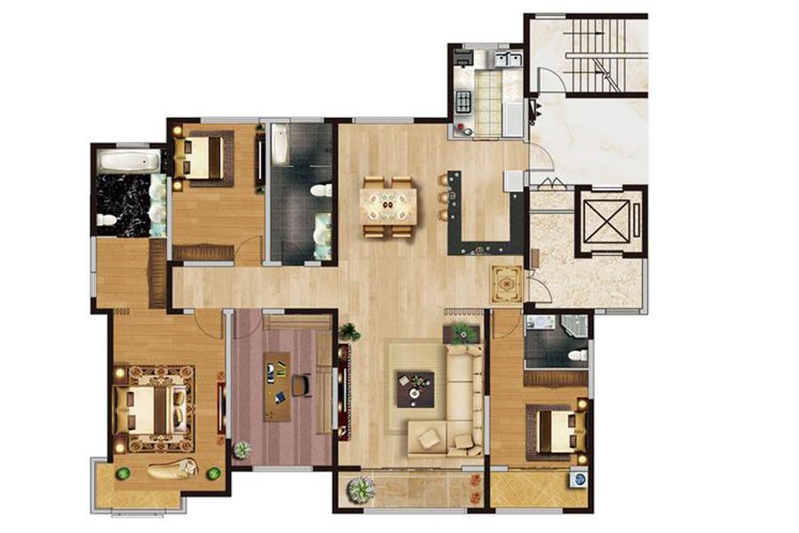 36#37#楼大平层D户型282平米4室2厅3卫1厨