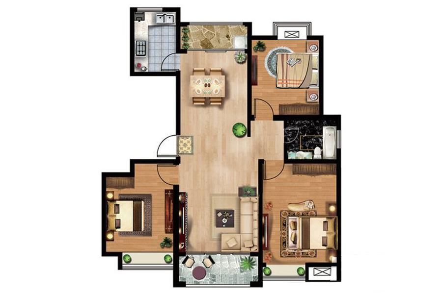 41#楼B2户型124平米3室2厅1卫1厨