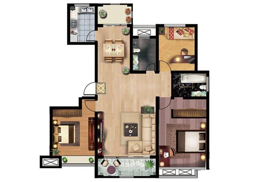 42#楼B4户型147平米3室2厅2卫1厨
