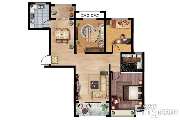 43#楼B1户型119平米3室2厅1卫1厨