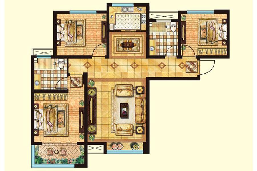 一期二期标准层A1户型126平米3室2厅2卫1厨