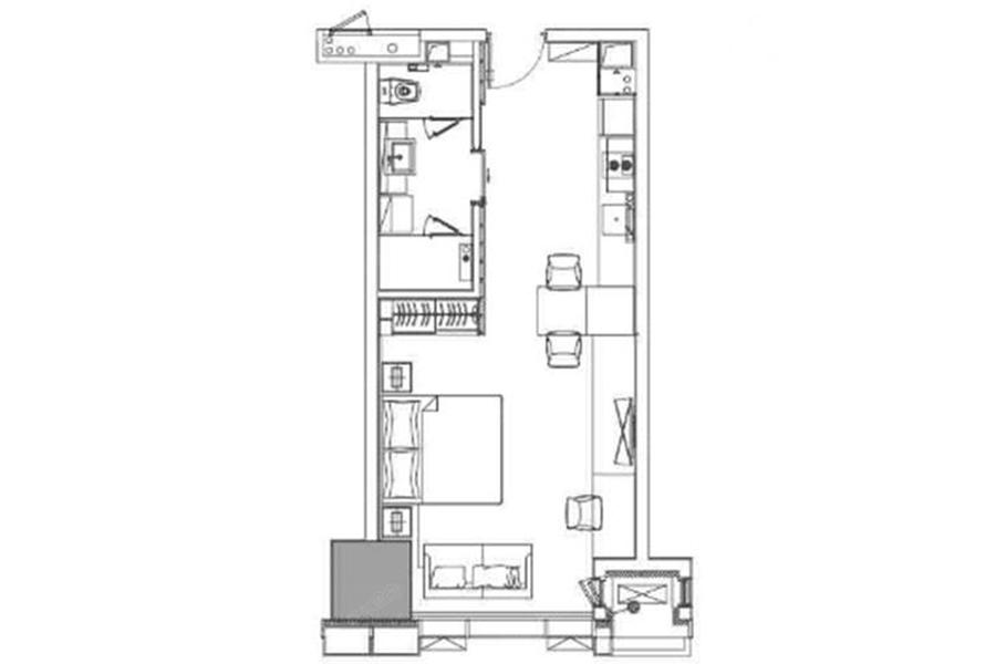 A户型62平米1室1厅1厨1卫