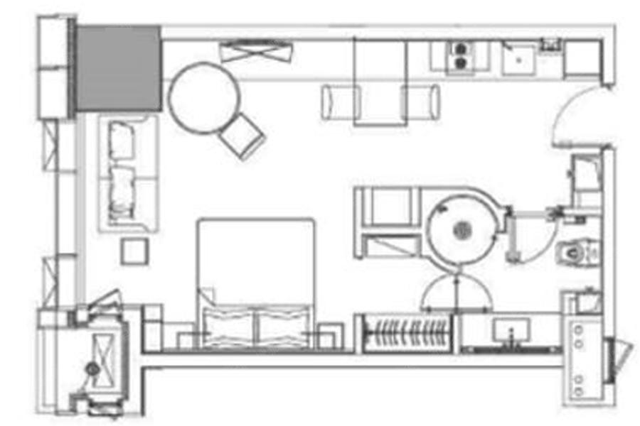 C户型59平米1室1厅1厨1卫