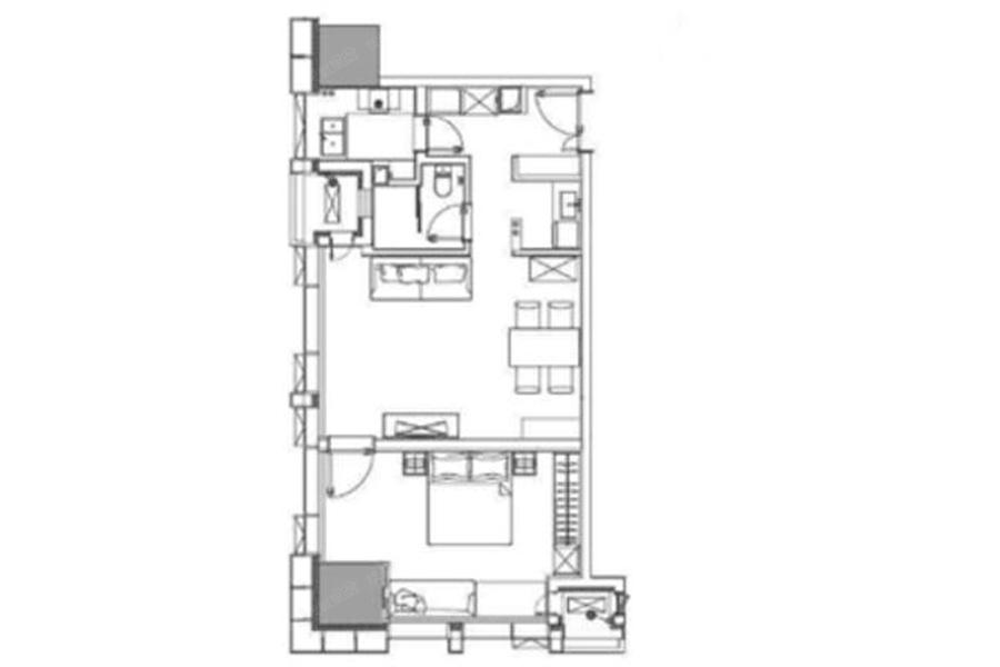 D户型96平米1室2厅1厨1卫