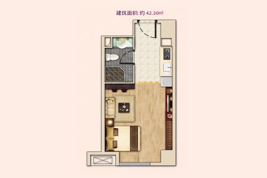 公寓5#E户型42平米1室1厅1卫1厨