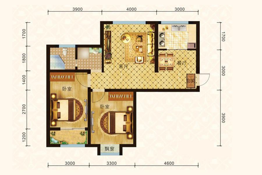 1、10、11、12#楼A2户型91平米2室2厅1卫1厨