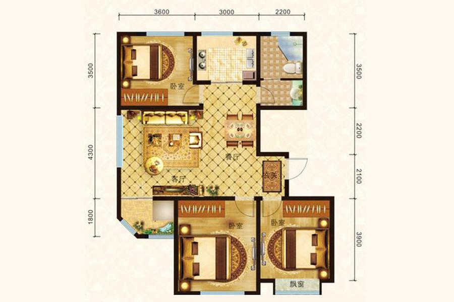 B3户型120平米3室2厅1卫1厨