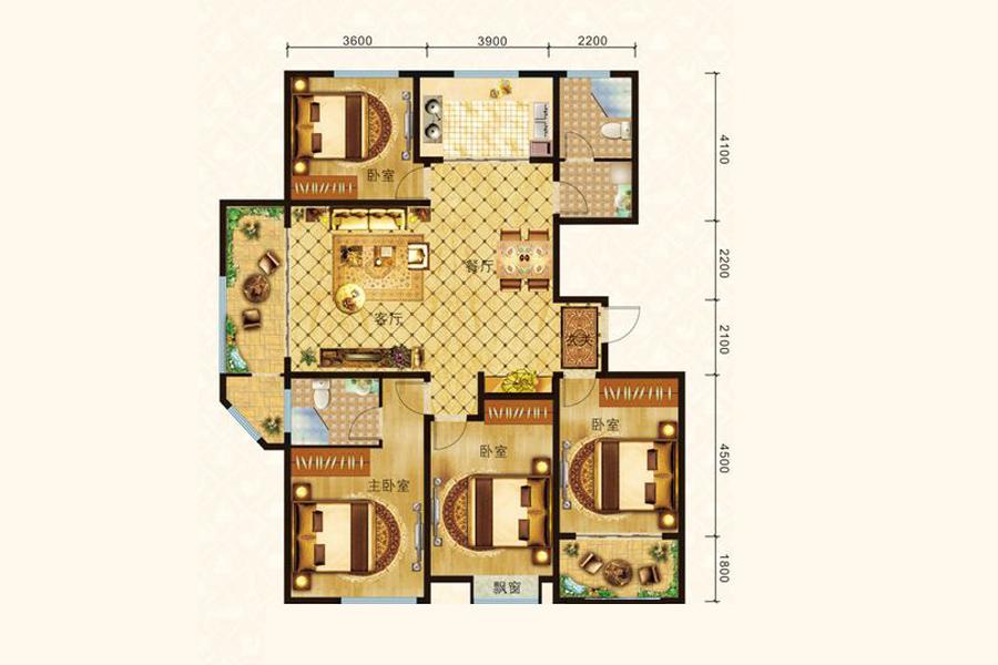E1户型186平米4室2厅2卫1厨