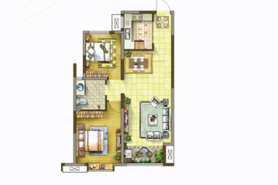 1号楼、2号楼、3号楼、6号楼C户型93平米2室2厅1卫1厨