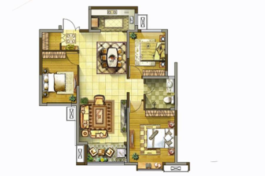 1号楼、2号楼、3号楼B户型110平米3室2厅1卫1厨