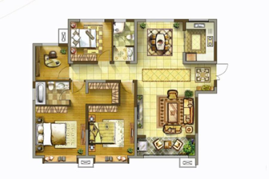 2号楼、4号楼、6号楼A户型158平米4室2厅2卫1厨
