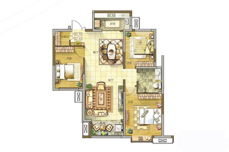 2号楼、4号楼、6号楼B户型110平米3室2厅1卫1厨