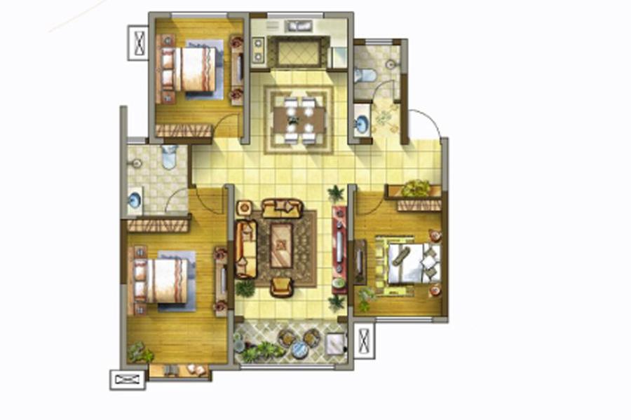 2号楼、4号楼、6号楼D户型125平米3室2厅2卫1厨