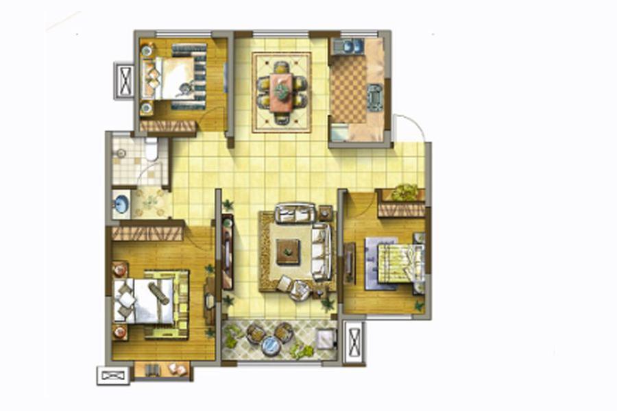 3号楼F户型123平米3室2厅1卫1厨
