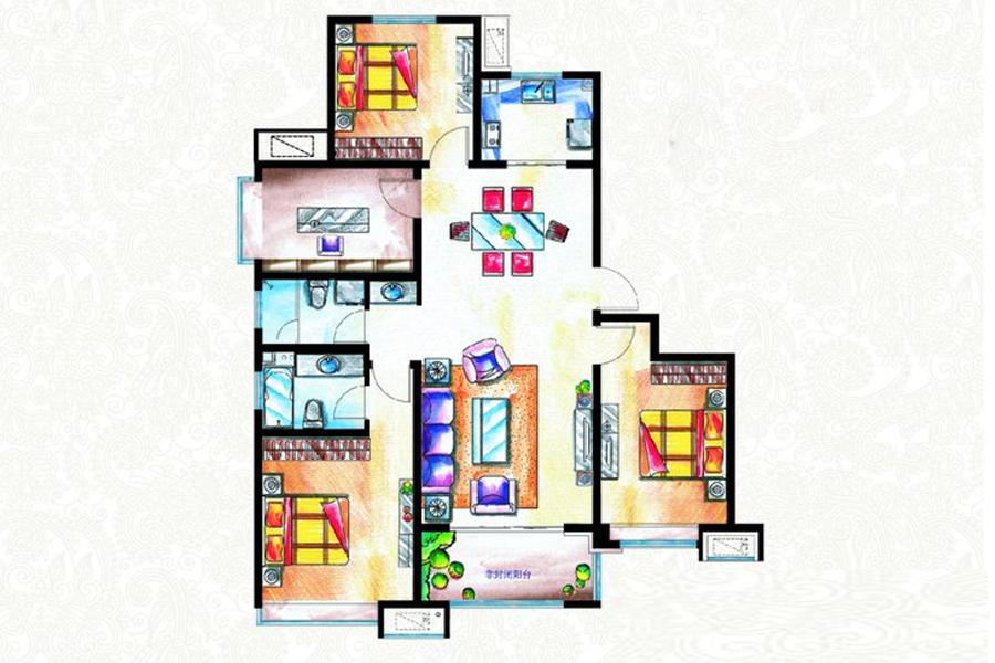 二期B1户型131平米3室2厅2卫1厨
