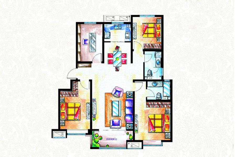 二期B2户型134平米4室2厅2卫1厨