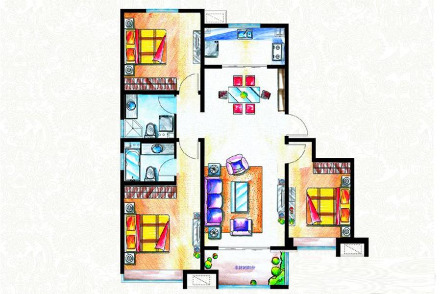 二期B3#8#6#11#9#C1户型124平米3室2厅2卫1厨