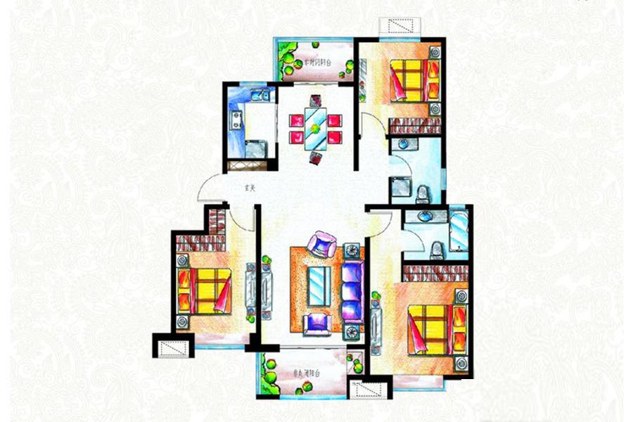 二期B地块C2户型122平米3室2厅2卫1厨