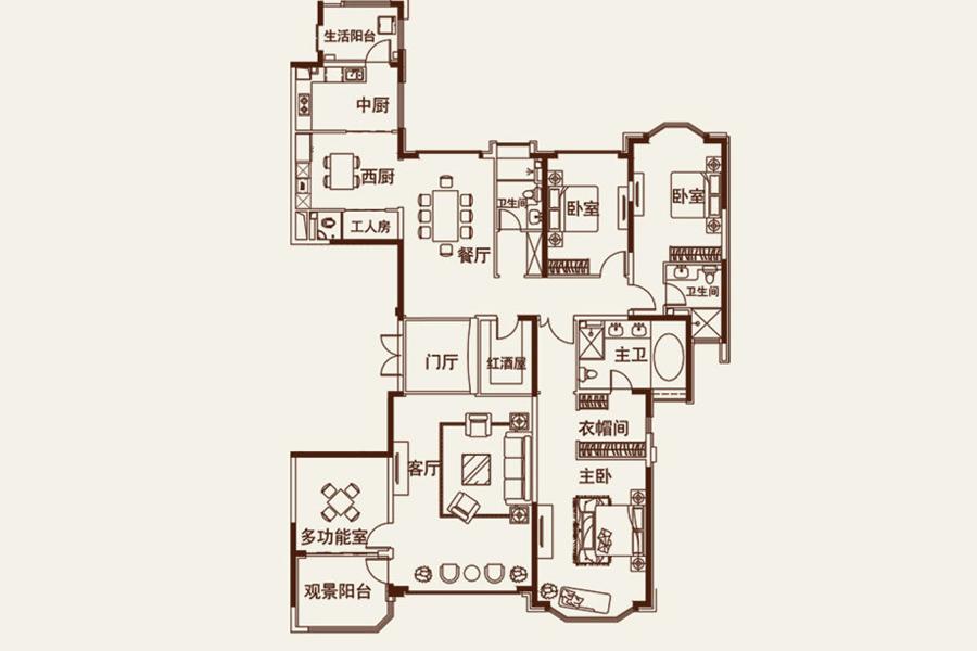 8#楼 4室2厅3卫320.00平米