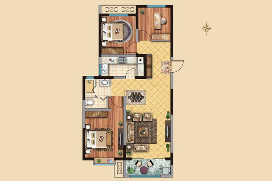 1#2#3#4#楼C2户型112平米3室2厅1卫1厨