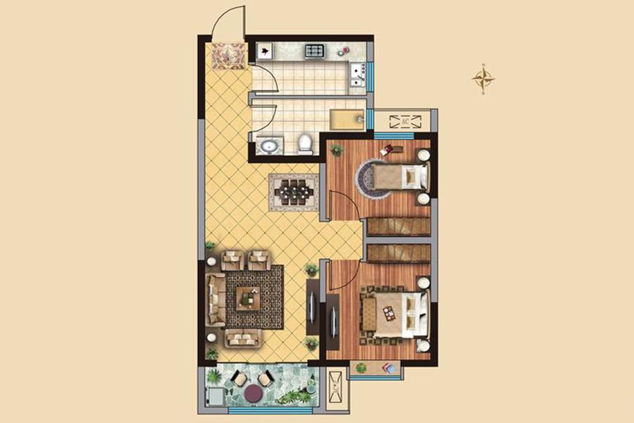 1#4#楼B1户型90平米2室2厅1卫1厨