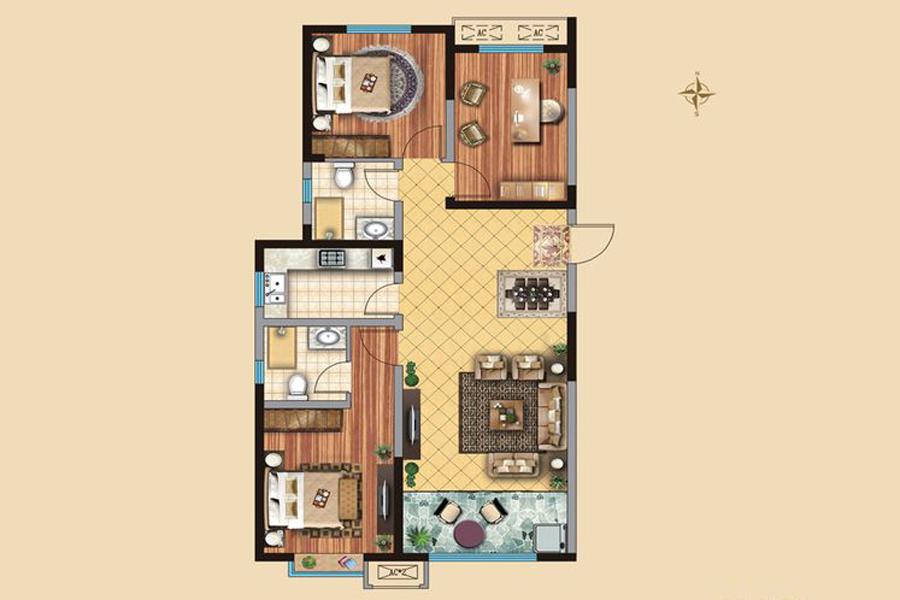 1#4#楼D户型120平米3室2厅2卫1厨