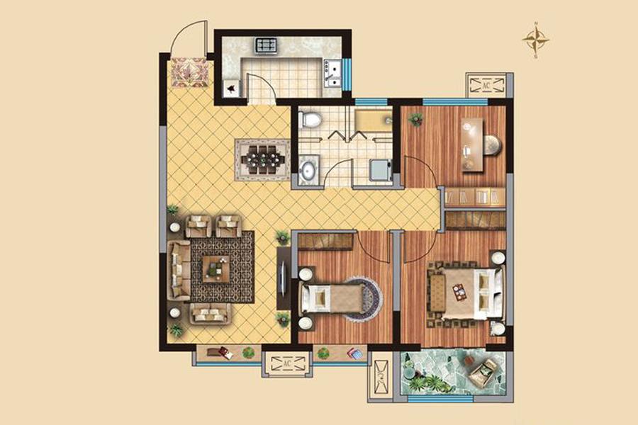 2#3#4#楼C1户型103平米3室2厅1卫1厨