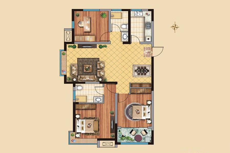 3#楼D1户型126平米3室2厅2卫1厨