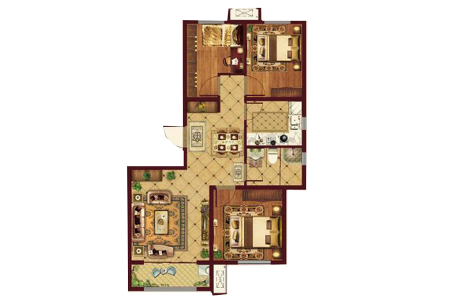 93㎡户型, 3室2厅1卫