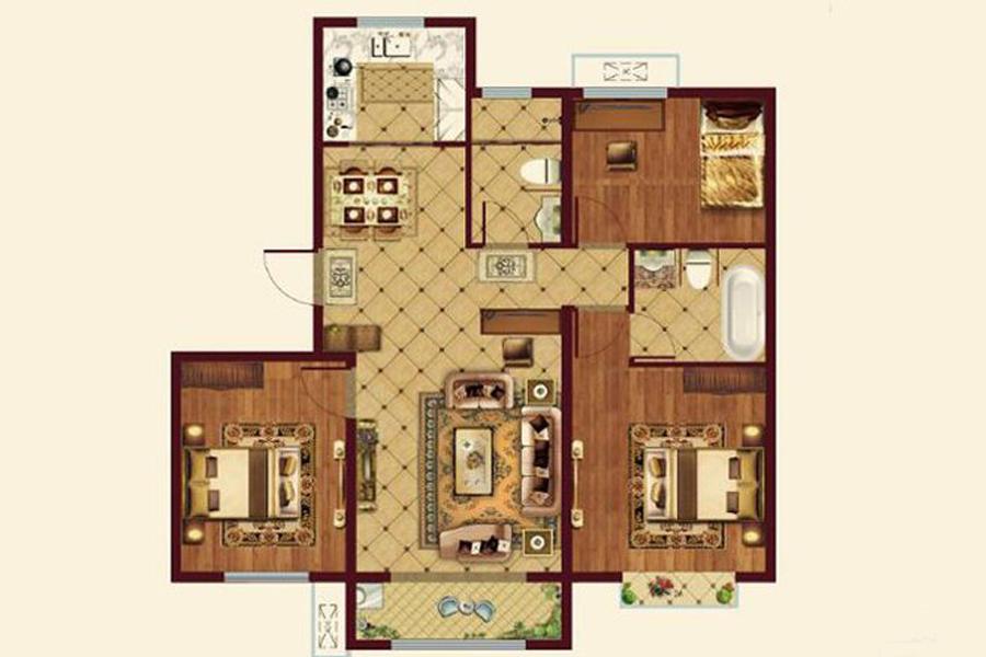 113㎡户型, 3室2厅2卫