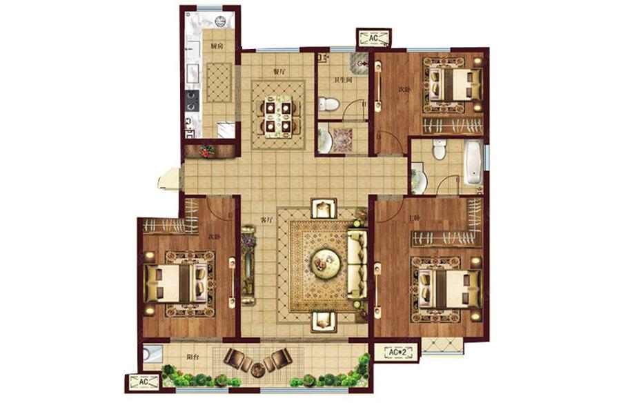 145㎡户型, 3室2厅2卫