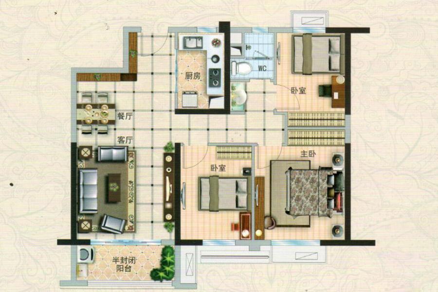 110P-B108m²户型, 3室2厅1卫1厨, 建筑面积约108.00平米