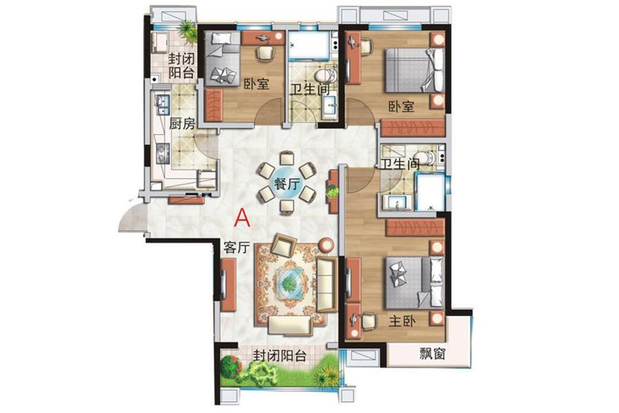A户型, 3室2厅2卫, 建筑面积约145.00平米