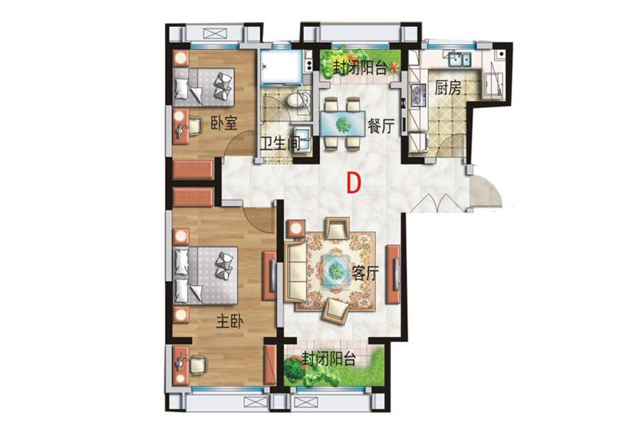 D户型, 2室2厅1卫, 建筑面积约108.00平米