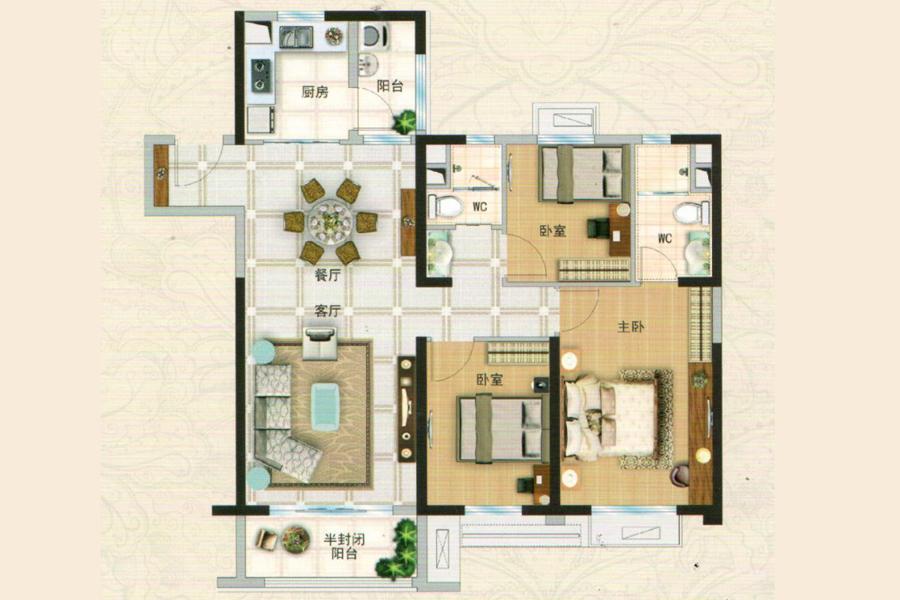 YJ110P-C128m², 3室2厅2卫1厨, 建筑面积约128.00平米