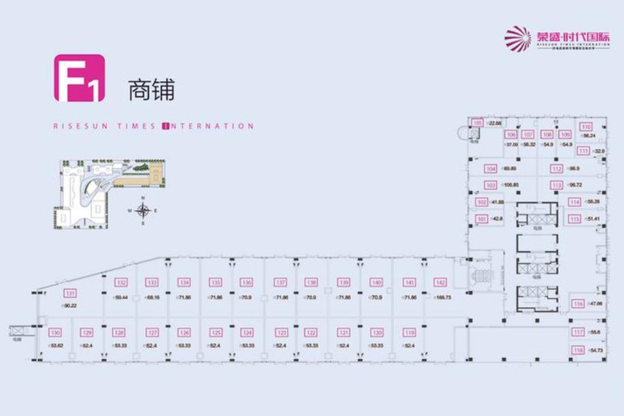 鑫街F1平面户型1840平米商铺