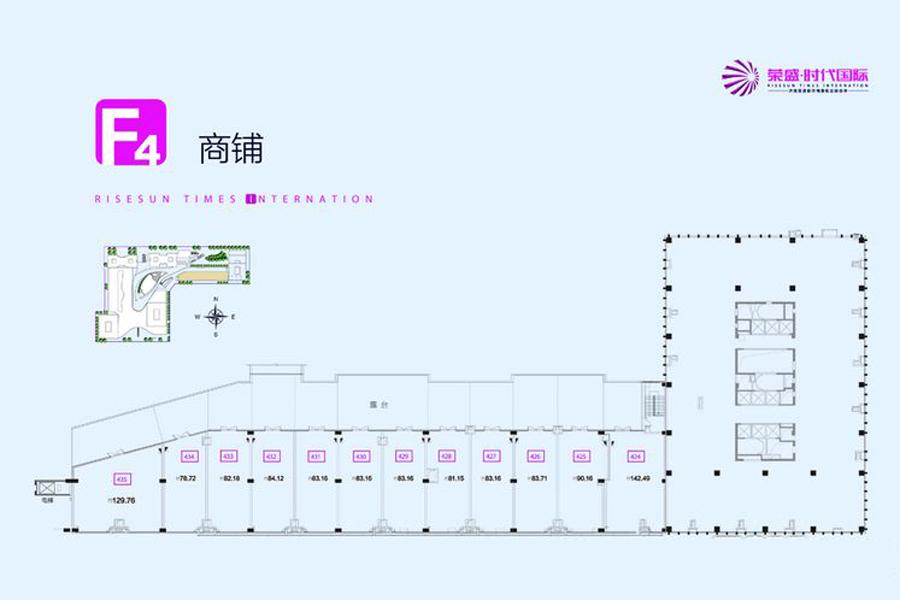 鑫街F4平面户型1400平米商铺