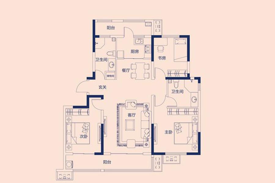 A户型135平米3室2厅2卫1厨