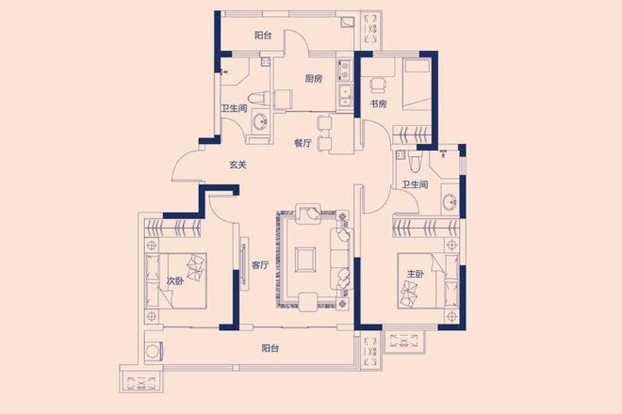 C户型117平米3室2厅2卫1厨