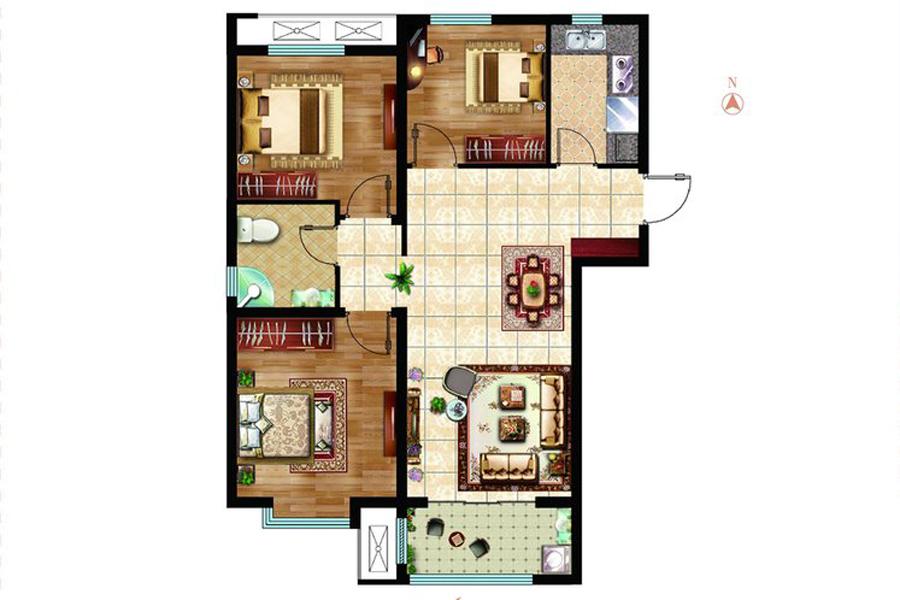 A3户型96平米3室2厅1卫1厨