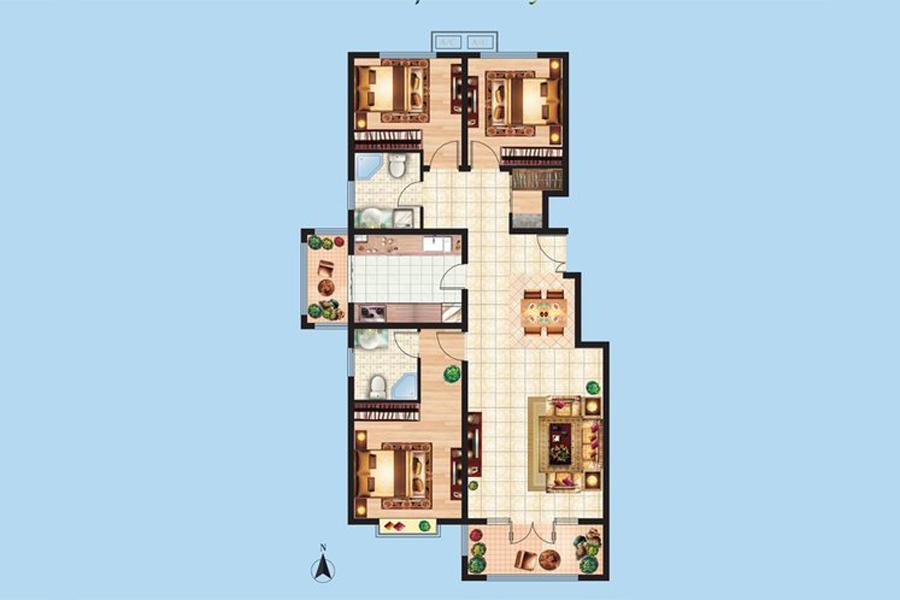 2#楼D1户型133平米3室2厅2卫1厨