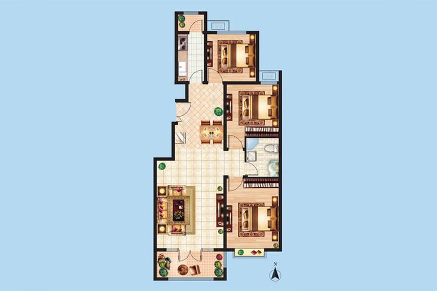 2#楼D2户型110平米3室2厅1卫1厨